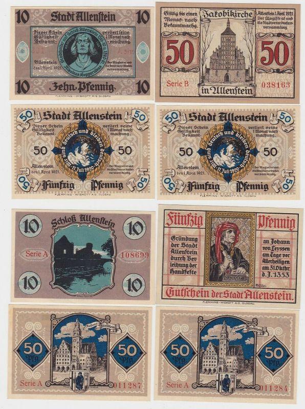 4 Banknoten Notgeld Stadt Allenstein Ostpreussen 1.April 1921 (132976)