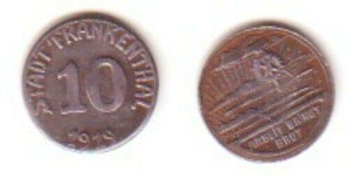 Münze Notgeld 10 Pfennig Stadt Frankenthal 1919 (BN5710)