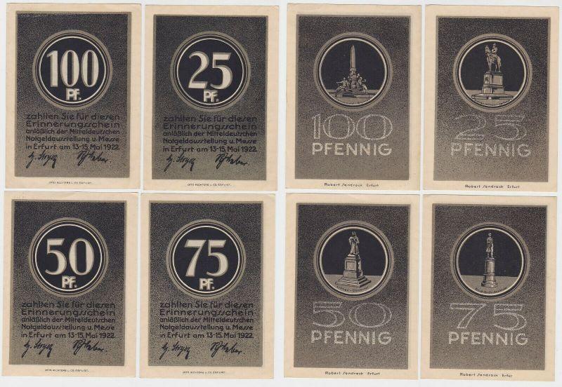 4 Banknoten Notgeld Mitteldeutsche Notgeldausstellung Erfurt 1922 (132856)