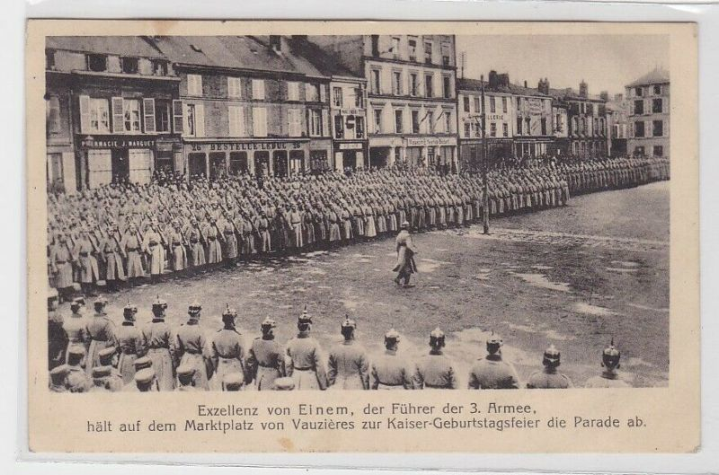 38924 Feldpost Ak Vauziers Marktplatz Kaiser Geburtstagsfeier 1915
