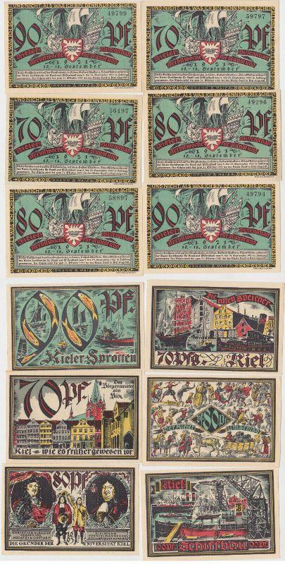6 Banknoten Notgeld Kieler Herbstwoche für Kunst und Wissenschaft 1921 (132843)