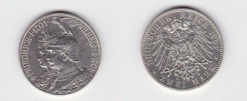 2 Mark Silbermünze Preussen 200 Jahre Königreich 1901 Jäger 105 (130888)
