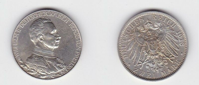 2 Mark Silbermünze Preussen Kaiser in Uniform 1913 Jäger 111 (131064)