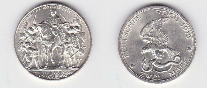 2 Mark Silbermünze Preussen Der König rief .... 1913 Jäger 109  (131051)