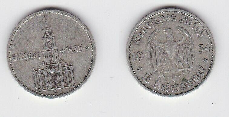 2 Mark Silber Münze 3. Reich Garnisonkirche mit Datum 1934 D Jäger 355 (130550)