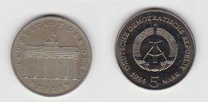 DDR Gedenk Münze 5 Mark Brandenburger Tor 1984 Stempelglanz (130812)