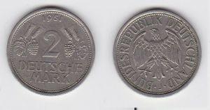 2 Mark Nickel Münze BRD Trauben und Ähren 1951 J (130429)