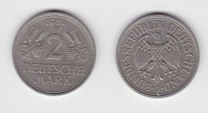 2 Mark Nickel Münze BRD Trauben und Ähren 1951 J (130590)