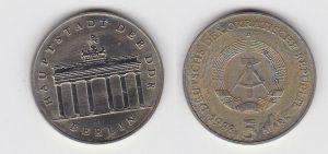 DDR Gedenk Münze 5 Mark Brandenburger Tor 1988 Stempelglanz (131556)