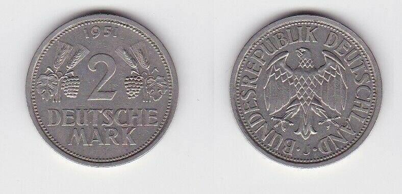 2 Mark Nickel Münze BRD Trauben und Ähren 1951 J (130631)