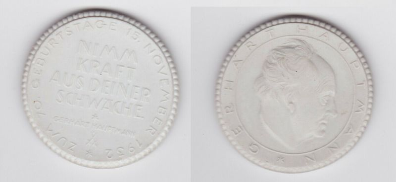 Seltene Porzellan Medaille Gerhart Hauptmann 1932 (124467)