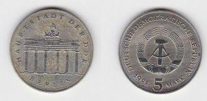 DDR Gedenk Münze 5 Mark Brandenburger Tor 1988 Stempelglanz (131452)