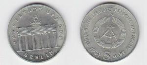 DDR Gedenk Münze 5 Mark Brandenburger Tor 1984 Stempelglanz (131236)