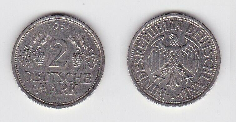 2 Mark Nickel Münze BRD Trauben und Ähren 1951 J (130533)