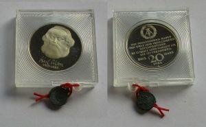 DDR Gedenk Münze 20 Mark Karl Marx 1983 PP verplombt (132004)
