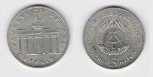 DDR Gedenk Münze 5 Mark Brandenburger Tor 1984 Stempelglanz (131595)