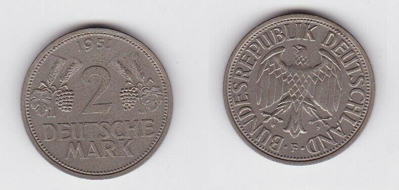 2 Mark Nickel Münze BRD Trauben und Ähren 1951 F (130442)
