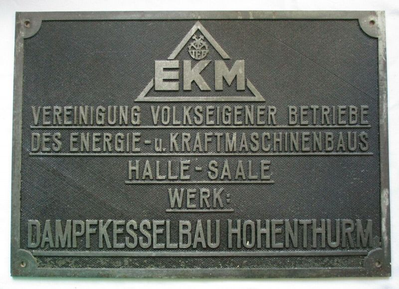 Typen Reklame Metall Plakette VEB Dampfkesselbau Hohenthurm (112641)