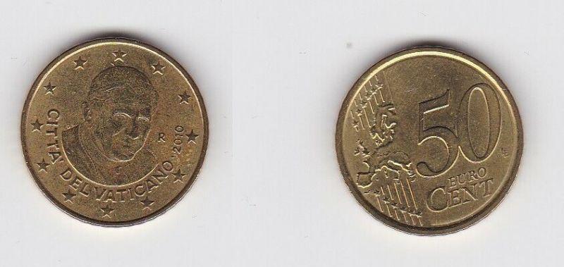 50 Cent Messing Münze Vatikan 2010 Pabst Benedikt (130956)