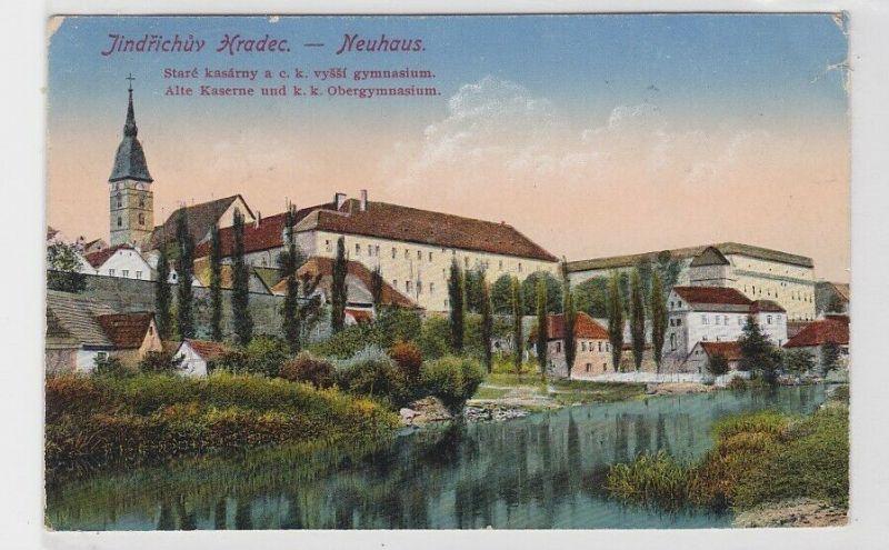 55735 Ak Jindřichův Hradec Neuhaus alte Kaserne und K.K. Obergymnasium 1917