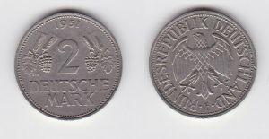 2 Mark Nickel Münze BRD Trauben und Ähren 1951 F (130549)