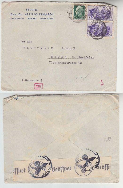 17777 seltener Zensur Post Brief von Mailand Italien nach Herna in Westf. 1941