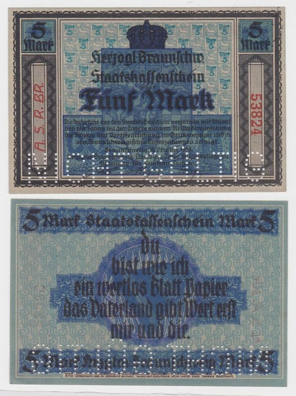 5 Mark Banknote Notgeld Braunschweig  15.10.1918 (121120)