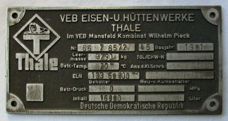Typen Reklame Metall Plakette VEB Eisen- & Hüttenwerke Thale 1981 (110072)