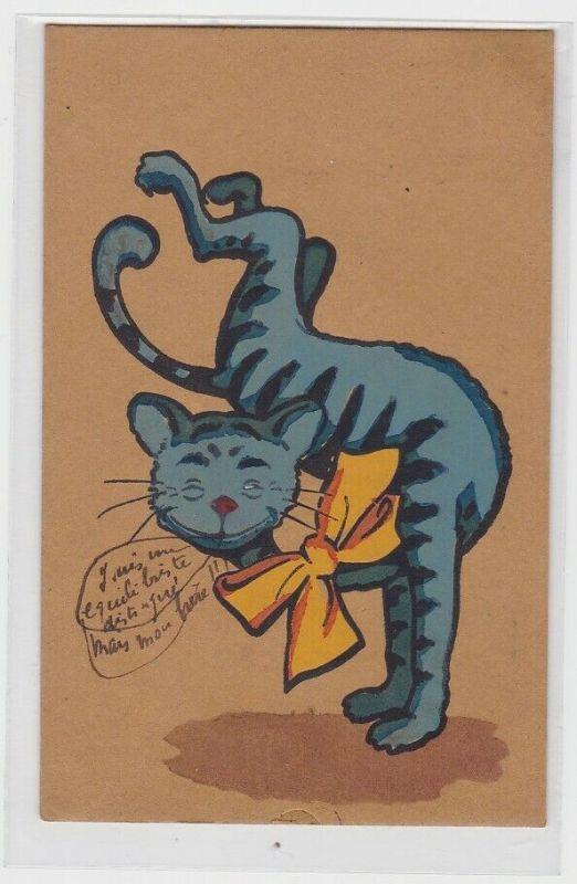 60708 handgemalte Künstler Feldpost Ak Katze mit gelber Schleife 1912
