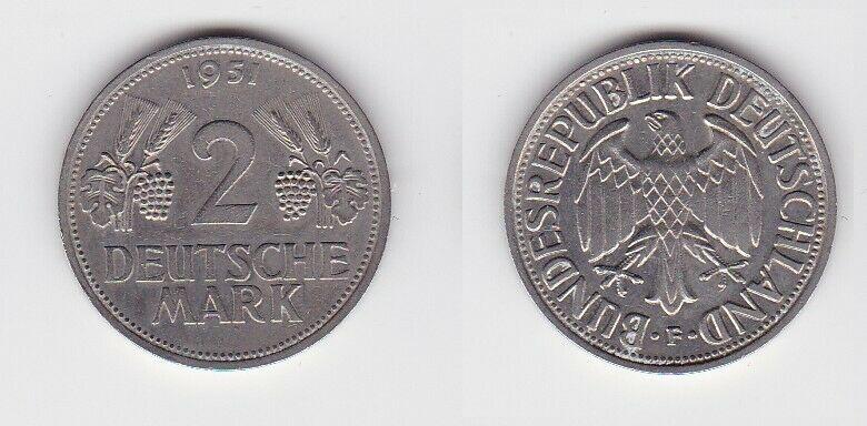 2 Mark Nickel Münze BRD Trauben und Ähren 1951 F (130444)