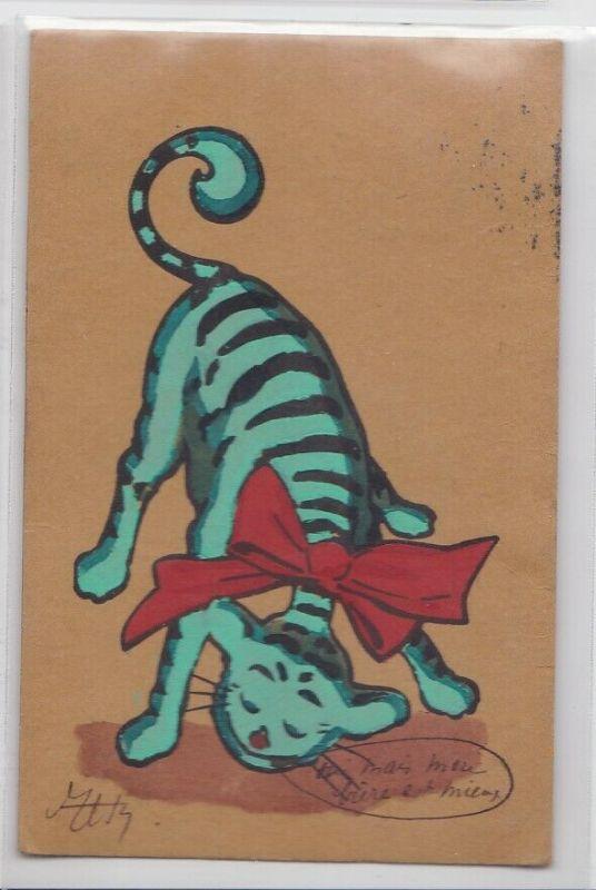 07930 handgemalte Künstler Feldpost Ak Katze mit roter Schleife 1915