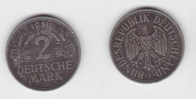 2 Mark Nickel Münze BRD Trauben und Ähren 1951 F (130592)