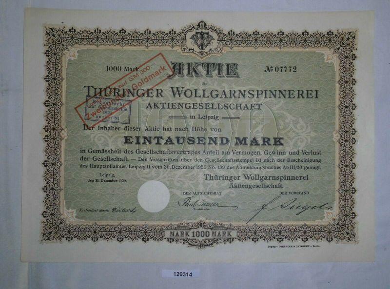 1000 Mark Aktie Thüringer Wollgarnspinnerei AG Leipzig 31.Dezember 1920 (129314)