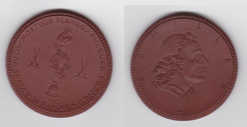 Weimar Schiller-Erinnerung Meissner Porzellanmedaille (122774)