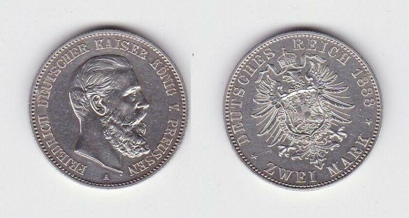 2 Mark Silber Münze Preussen Kaiser Friedrich 1888 vz+ (130899)