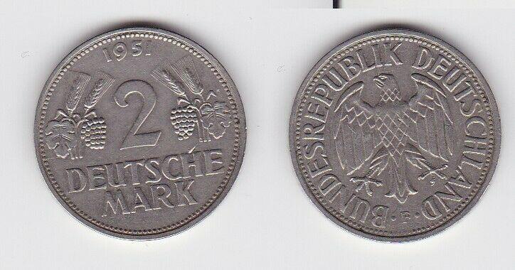 2 Mark Nickel Münze BRD Trauben und Ähren 1951 F (130556)