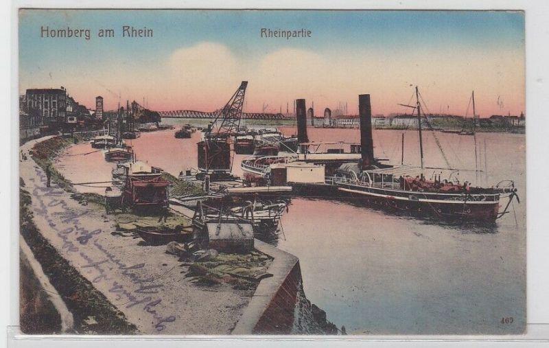 72077 Feldpost AK Homburg am Rhein - Rheinpartie mit Dampfern 1916