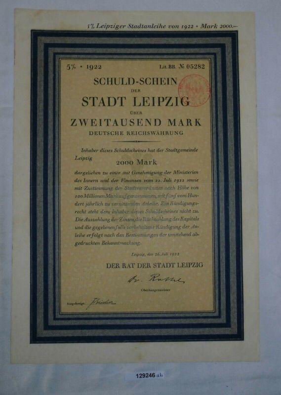 2000 Reichsmark Schuldschein Stadt Leipzig 26. Juli 1922 (129246)