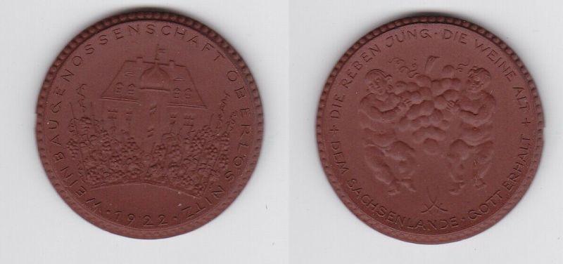Porzellan Medaille Weinbaugenossenschaft Oberlössnitz 1922 (121226)