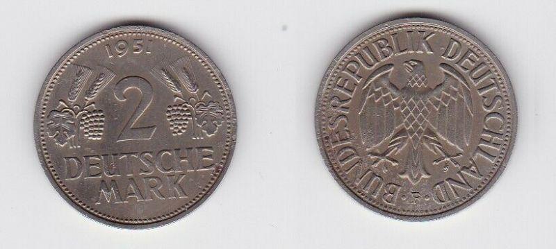 2 Mark Nickel Münze BRD Trauben und Ähren 1951 F (130594)
