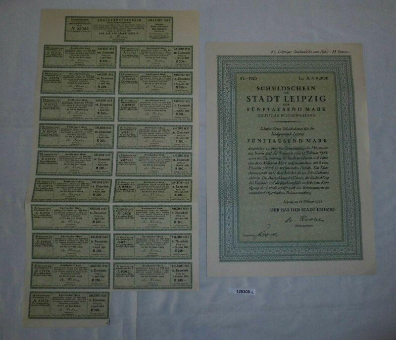 5000 Reichsmark Schuldschein Stadt Leipzig 14. Februar 1923 (129309)