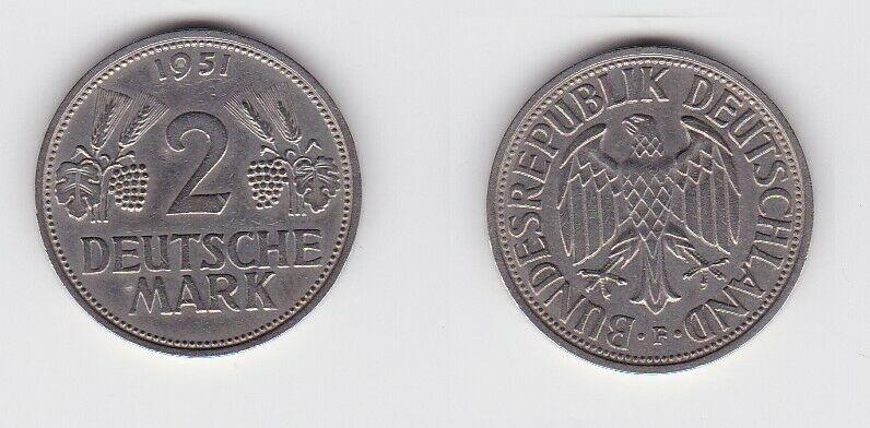 2 Mark Nickel Münze BRD Trauben und Ähren 1951 F (130591)