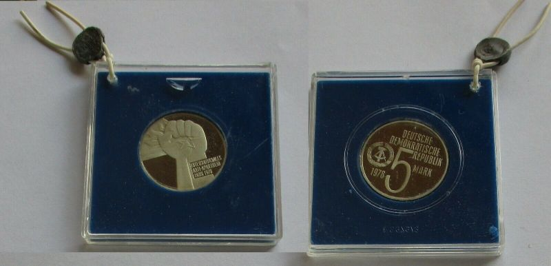 DDR Gedenk Münze 5 Mark Anti Apartheid Jahr 1978 PP verplombt (131682)