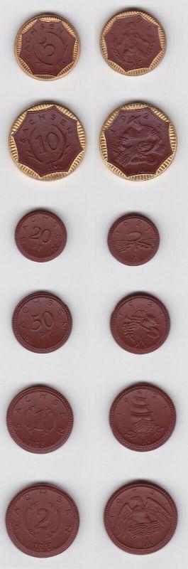 Satz Notgeld 1921 Sachsen Porzellan Meissen 20 Pfg - 10 Mark komplett (126031)