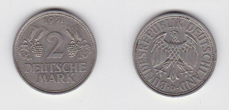 2 Mark Nickel Münze BRD Trauben und Ähren 1951 D (130603)