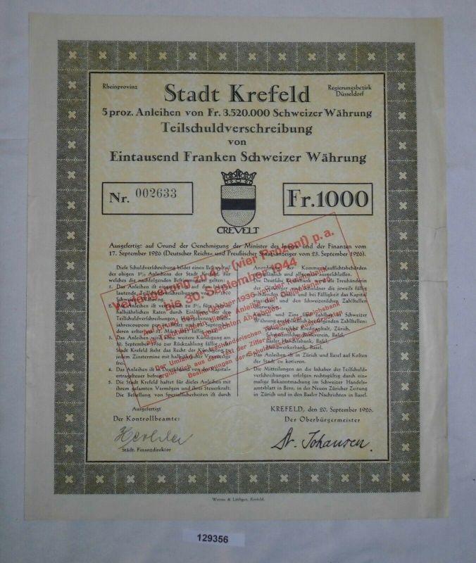 1000 Franken Teilschuldverschreibung Stadt Krefeld 20. September 1926 (129356)