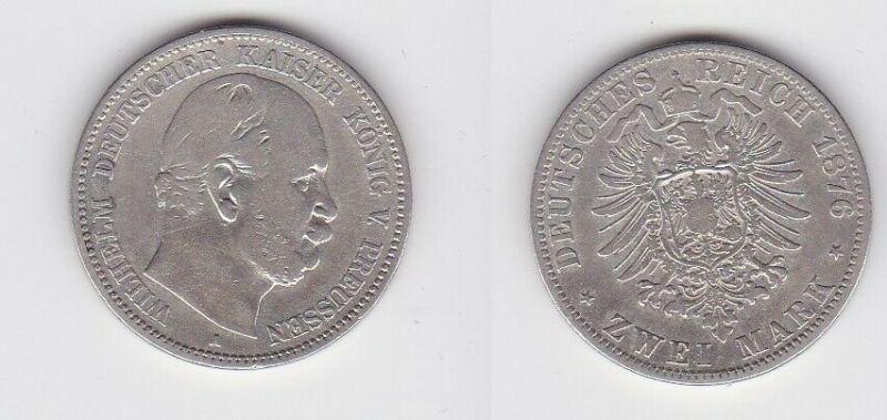 2 Mark Silbermünze Preussen Kaiser Wilhelm I. 1876 A Jäger 96 (131368)