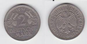 2 Mark Nickel Münze BRD Trauben und Ähren 1951 D (130219)