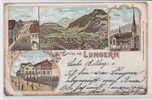 80344 Ak Lithographie Gruß aus Lungern Restaurant zum Rössli usw. 1899