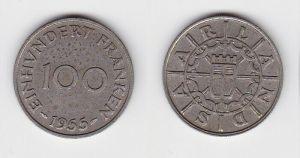 100 Franken Kupfer Nickel Münze Saarland 1955 (130630)